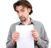 Guy holding a white blank sign Royalty Free Stock Photography