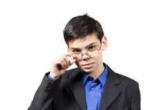 Guy holds glasses Stock Images