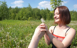The guy holds out a dandelion to his girlfriend Royalty Free Stock Photos
