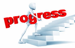 Guy holds progress in their hands Stock Images