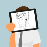 Guy holds tablet pc displaying hand drawing Stock Photo