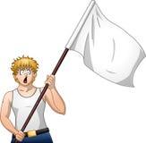 Guy Holds White Flag e grida Fotografie Stock