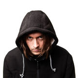 Guy in a hood. Evil guy in a hood on white background Royalty Free Stock Photo
