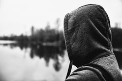The guy in the hood. Black and white. The guy in the hood. Stay Stock Photography