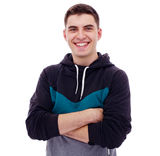 Guy in hoody with crossed arms Royalty Free Stock Photography