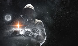 Guy in hoody. Mixed media Royalty Free Stock Images