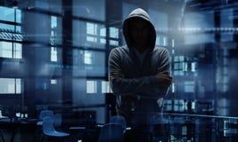 Guy in hoody. Mixed media Stock Photography