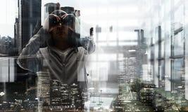 Guy in hoody. Mixed media Royalty Free Stock Photos