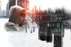 Guy in hoody. Mixed media Stock Photo