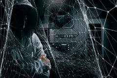 Guy in hoody. Mixed media. Criminal man wearing hoody against dark background. Mixed media Stock Images
