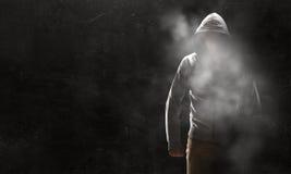 Guy in hoody. Mixed media Stock Photos