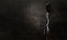 Guy in hoody. Mixed media Stock Images