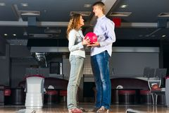 Young couple plays bowling Royalty Free Stock Image