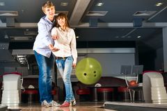 Young couple plays bowling Stock Photos
