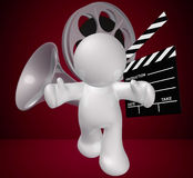 Guy icon figure with movie making objects. Illustration Royalty Free Stock Photography