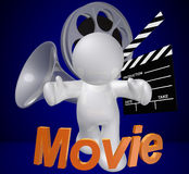 Guy icon figure with movie making objects. Illustration Royalty Free Stock Photos