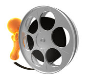 guy icon rolling film reel Royalty Free Stock Image