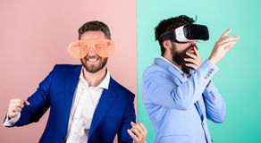 Guy interact in virtual reality. Hipster exploring virtual reality. Business implement modern technology. Real fun and. Virtual alternative. Man with beard in royalty free stock photos