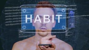 Guy interacts HUD hologram Habit royalty free illustration