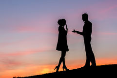 Guy invites a girl to marry. Royalty Free Stock Image