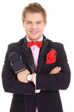 guy in jacket and microphone Stock Photos