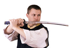 Guy with japanese sword Stock Photography