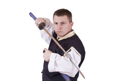 Guy with japanese sword Royalty Free Stock Photos