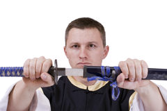 Guy with japanese sword Stock Photos