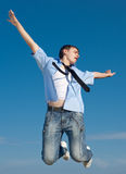 Guy in jeans jumping Stock Photo