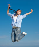Guy in jeans jumping Stock Image