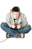 Guy with a joystick for game console. Isolated Stock Photos