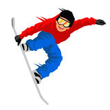 Guy in a jump on a snowboard. Vector illustration on white background. Sports concept Royalty Free Stock Images