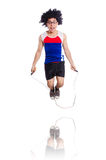 Guy jumps with skipping rope isolated on white Stock Images