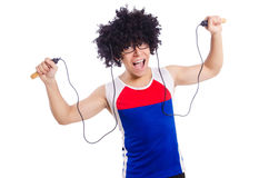 Guy jumps with skipping rope isolated on white. Guy jumps with skipping rope on white stock images