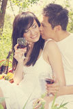 Guy kisses a girl Stock Photography