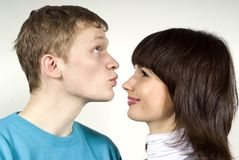 The guy kisses his girls nose Stock Photography