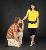 Guy kissing female hand Stock Photography