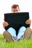 Guy with laptop stock images
