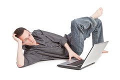 Guy with the laptop royalty free stock photos
