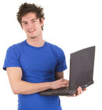 Guy with a laptop Royalty Free Stock Photography