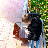 Guy with Laptop outdoor Stock Photos