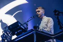 Guy Lawrence of Disclosure (band). Howard Lawrence of electronic music duo Disclosure, during a concert at Longitude Festival 2014 in Dublin, Ireland Stock Photos