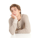 Guy leaning on table Stock Photo