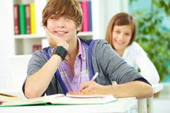 Guy at lesson Royalty Free Stock Photo