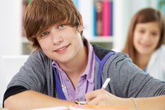 Guy at lesson Stock Images