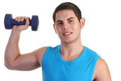 Guy lifting up a dumbell Royalty Free Stock Photos
