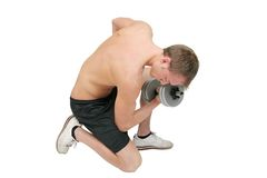 Guy lifting weights Stock Image