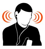 Guy listening music at high volume. Illustration of a young guy listening music at too high volume Stock Photos