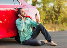 Guy listening to music Stock Photos