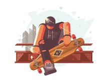 Guy with long board Royalty Free Stock Image